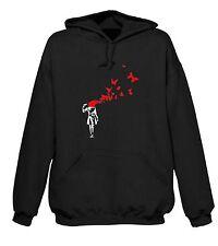 Banksy Mariposa suicidio con Capucha-Arte urbano Mariposas Niña T-Shirt-Talla S-XXL