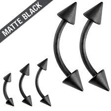 Pair 16g Matte Black Spike Surgical Steel Tragus Lip Piercing Eyebrow Ring 3mm