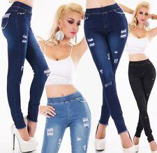 Patta da Donna Pantaloni Jeans Stretch Jeans Skinny Denim Jeggings Tubo BRETELLE NUOVO
