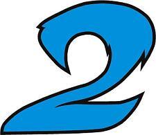 """X1 8 """"cifre (più in NEGOZIO EBAY) Corsa Numeri Adesivi in vinile stile 2 Blu / Nero"""