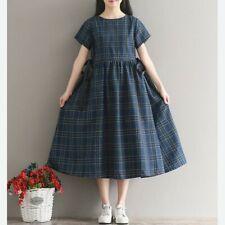 Womens Linen Cotton Short Sleeve Empire Waist Dress Check Vintage Tunic Loose