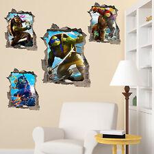 Teenage Mutant Ninja Turtles in Wall Crack Decal Stickers Bedroom Kids TMNT 2