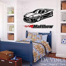 Car Classic Wheels Sport Racecar Custom Wall Room Name Vinyl Wall Decal Sticker