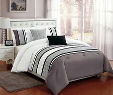5 PC Grey, White & Black Comforter Set w/ Burnout Lace Design, Full Queen King