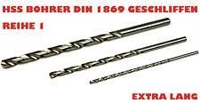 Bohrer HSS G Spiralbohrer DIN 1869  2,0 -13,0mm Profi Metallbohrer extra lang ..