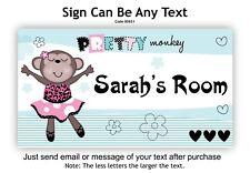 Personalised Room Door, Name Sign Plaque Girl Child Monkey Dance Dancing Theme.