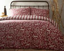 Brushed Cotton Berry Red Skandi Woodland Flannelette 100% Cotton Duvet Cover Set