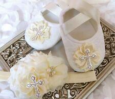 Baby Girl Ivory Christening Shoes Baptism Cross Satin Flower Headband Set