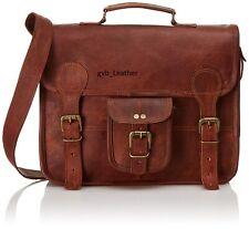 Mens Real Hunter Leather Vintage Laptop Messenger Handmade Briefcase Bag Satchel