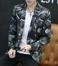Men Slim Fit Printing Lapel Blazer Business Formal Dress Coat Jacket Outwear Top