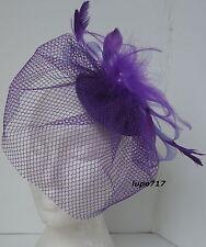 PURPLE HAT NETTING VEIL FASCINATOR WEDDING ASCOT RACING HEN PARTY LADIES DAY NEW
