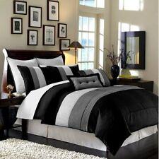 Luxury Stripe Bedding Black Grey and White Queen Size 8 Piece Set