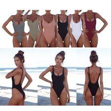 Plain Deep U-shape One Piece Monokinis Swimsuit High Waist 8060 UK 8-14 8060