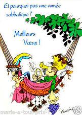 CARTE postale rigolote de GASTON LAGAFFE bonne année sabbatique ! voeux humour