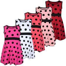Girls Casual Polka Dot Design Dress Kids Sleeveless Summer Top Skirt 3-14 Years