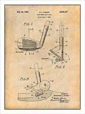 1960 Sand Wedge Golf Club Patent Print Art Drawing Poster 18X24