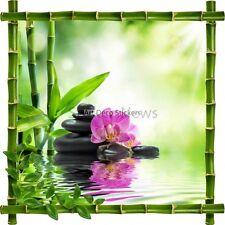Sticker autocollant Cadre bambou Bambous et galets Zen7161