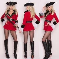 Halloween Pirate Costume Womens Fancy Dress Corsair Cosplay Long Sleeve Hat Belt
