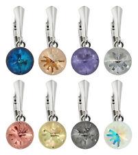Sterling Silber Seeigel Sicherheit Ohrringe mit SWAROVSKI 1695 10mm Kristallen