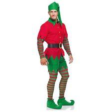 ADULT ELF COSTUME HOLIDAY CHRISTMAS SANTA'S HELPER GREEN RED LEGGINGS HAT BELT