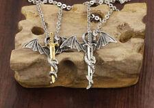 "Mens Stainless Steel Flying Dragon Sword Pendant 20"" Link Chain Necklace #NE123"
