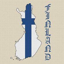 "Finland Map & Flag Cross Stitch Design (15x15cm, 6x6"", kit or chart, 14hpi)"
