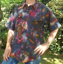 Comercio Justo NEPALÍ tie-dye Algodón Verano manga corta boho Surf Camisa M L XL