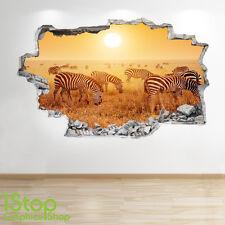 zèbre Autocollant Mural 3D LOOK - chambre salon Sunset TIGRE NATURE Z133