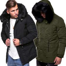 Behype Uomo Parka cappotto inverno-Giacca lunga arte-pelliccia nero/cachi NUOVO