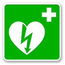 2 x 10cm Defibrillator Vinyl Sticker Sign Window H&S Shop First Aid Decal #5662