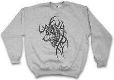 WOLF & TRIBAL SWEATSHIRT PULLOVER Skull Dragon Vikings Norse Norsemen Odin Thor