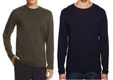 NWT VINCE Brand Raw Edge Soft Long Sleeve Tees T-Shirt Shirts Blue Olive Army