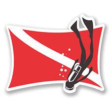2 X 10 Cm Buceo Bandera Vinilo Decal Sticker Ipad Laptop Diver Buceo Regalo # 5581