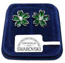 Fiore Orecchini da donna pl. oro 18K Swarovski veri Cristalli Verde