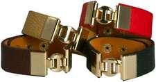 LEATHER BRACELET WITH GOLD DESIGNER LOGO,CHOOSE: BLACK, BROWN, RED, TAN
