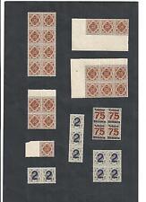 Württemberg Dienstmarken 1916, aus Michelnrn: 132,133,266, 271 **, Bogenteile **