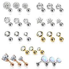3er Set tragus Helix Ear Plug Piercing Zirconia Rhinestone Ball Jewelry Earrings