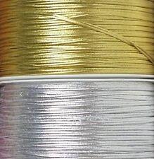 Metallic Soutache Braid Cord Trim 2mm Glossy Gold & Silver 1, 2, 5, 10 meters