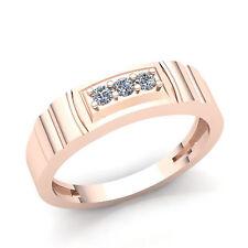 Genuine 1/4ctw Round Cut Diamond Three-stone Wedding Band Mens Ring 18K Gold