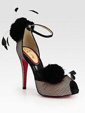 Christian Louboutin PLUMINETTE 20ANS Satin Feathers Sandals Shoes Poudre $2,450