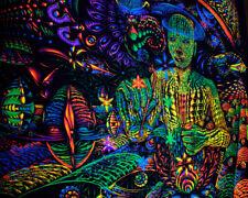 "UV BACKDROP ""Universal Spindle"" - blacklight trippy tapestry, psy trance art"