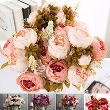 Silk Handmade Bridal Bouquet Artificial Flowers Fake Peony Wedding Decoration