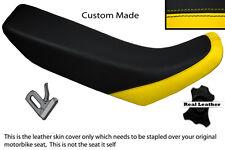 Amarillo Y Negro Custom encaja Honda Xr 250 400 96-04 real de piel cubierta de asiento