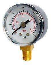 Pressure Gauge 40mm Dial 0/30 PSI & 0/2 Bar 1/8 BSPT BOTTOM  and/or Hose Tails