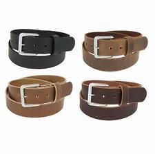 "Genuine Buffalo Leather Belt_1 1/4"" wide_Amish Handmade_Chrome Finish Buckle_132"