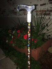 LED designer walking cane multi color roses changable interior lucite handle