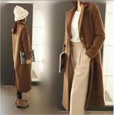 Womens Woolen Cashmere Overcoat Single-Breasted Coat Slim Jacket Long Parkas New