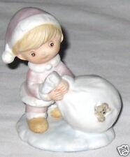 "Pink Ceramic 3.5"" Homco Girl Figurine - w Peeking Bear"