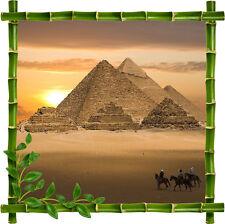 Sticker mural déco trompe l'oeil bambou Pyramides réf 925