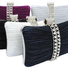 New Sparkly Crystal Diamante Satin Hardcase Wedding Prom Evening Clutch Bag 049